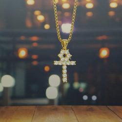 Studded Golden Ankh Necklace-King's Jewelers-Custom-Hip-Hop-Jewelry
