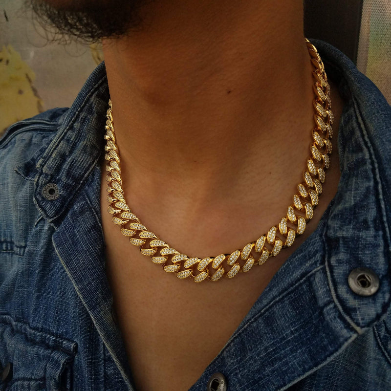 Two Tone Iced Out Cuban Chain-King's Jewelers-Custom-Hip-Hop-Jewelry