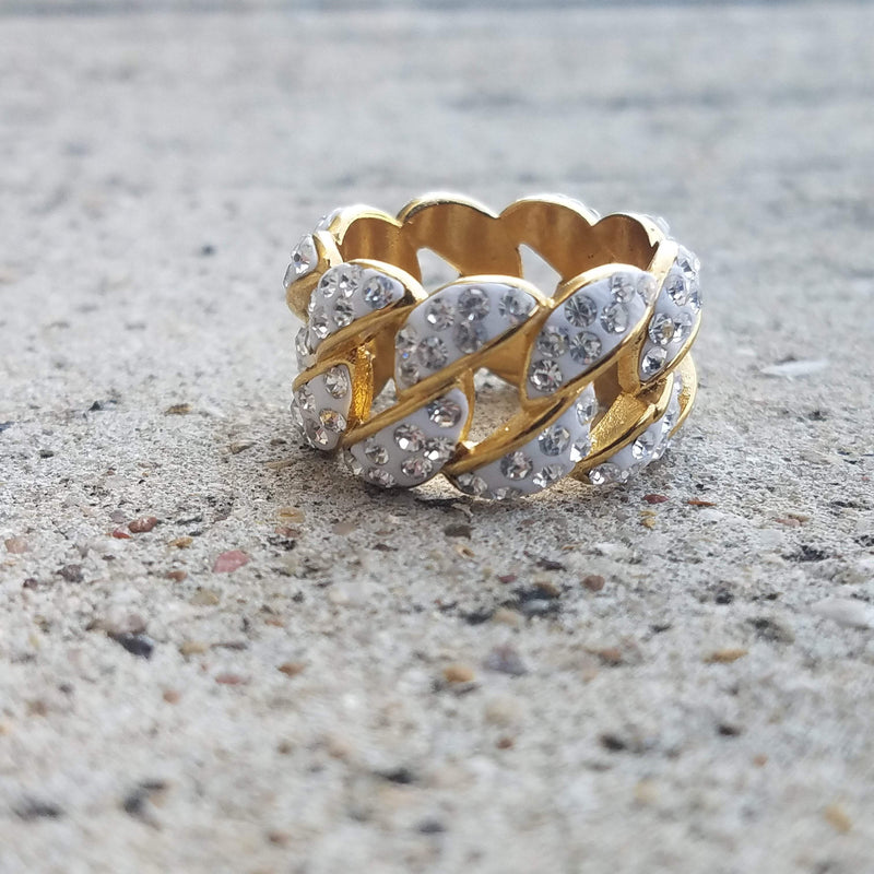White Gold Cuban Link Ring-King's Jewelers-Custom-Hip-Hop-Jewelry