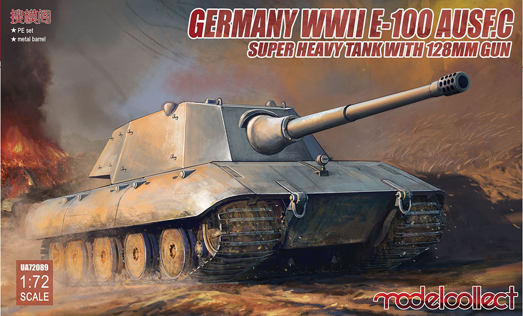 E-100 Auf C Heavy Tank Germany 1:72 Scale Model Kit By Modelcollect Box Cover