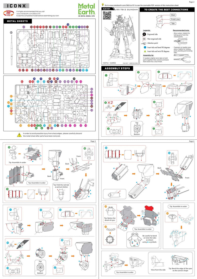 RX-78-2 Gundam  Metal Earth Iconx Model Kit Instructions Page 1