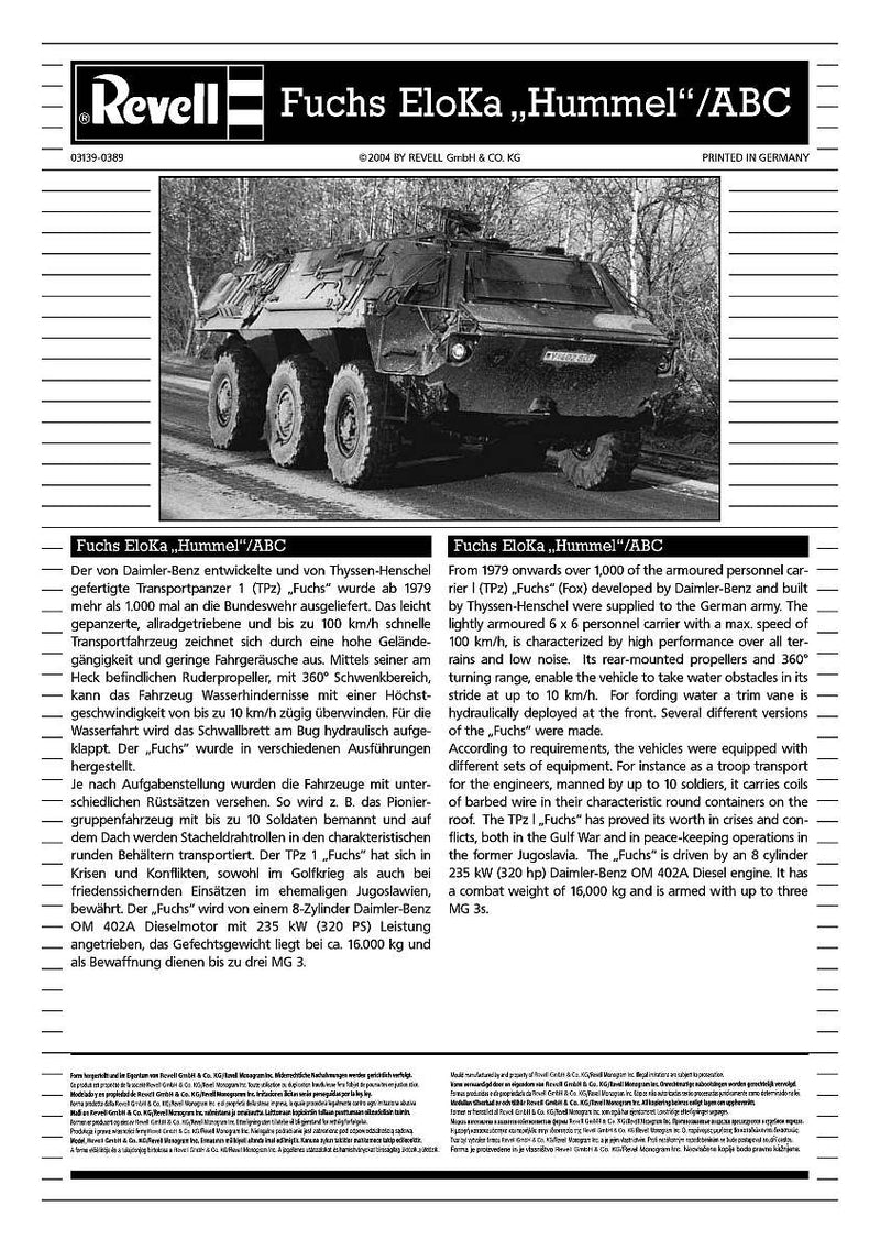"Tpz1 Fuchs EloKa ""Hummel"" Or ABC Spurpanzer 1/72 Scale Model Kit By Revell Germany Instructions Page 1"