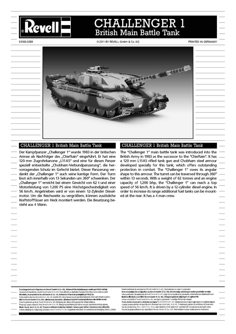 Challenger 1 British Main Battle Tank 1/72 Scale Model Kit By Revell Germany Instructions Page 1