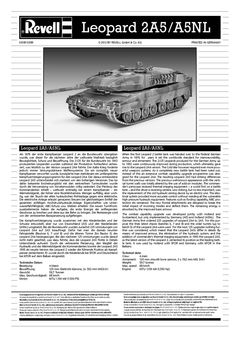 Leopard 2A5/A5NL Main Battle Tank 1/72 Scale Model Kit By Revell Germany Instructions Page 1