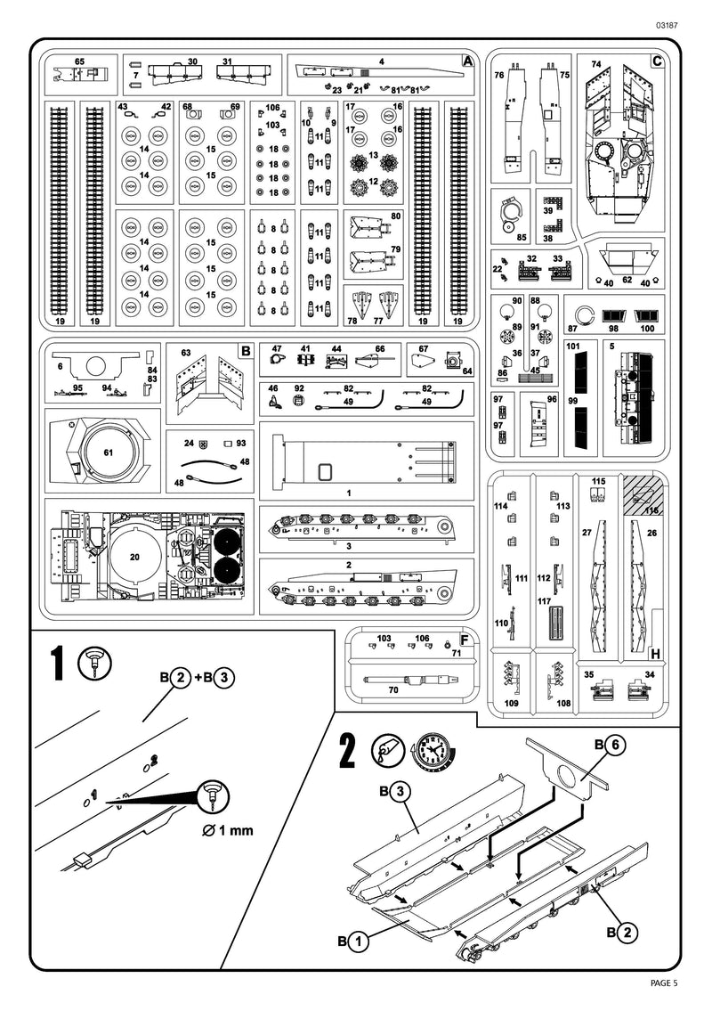 Leopard 2A5/A5NL Main Battle Tank 1/72 Scale Model Kit By Revell Germany Instructions Page 5