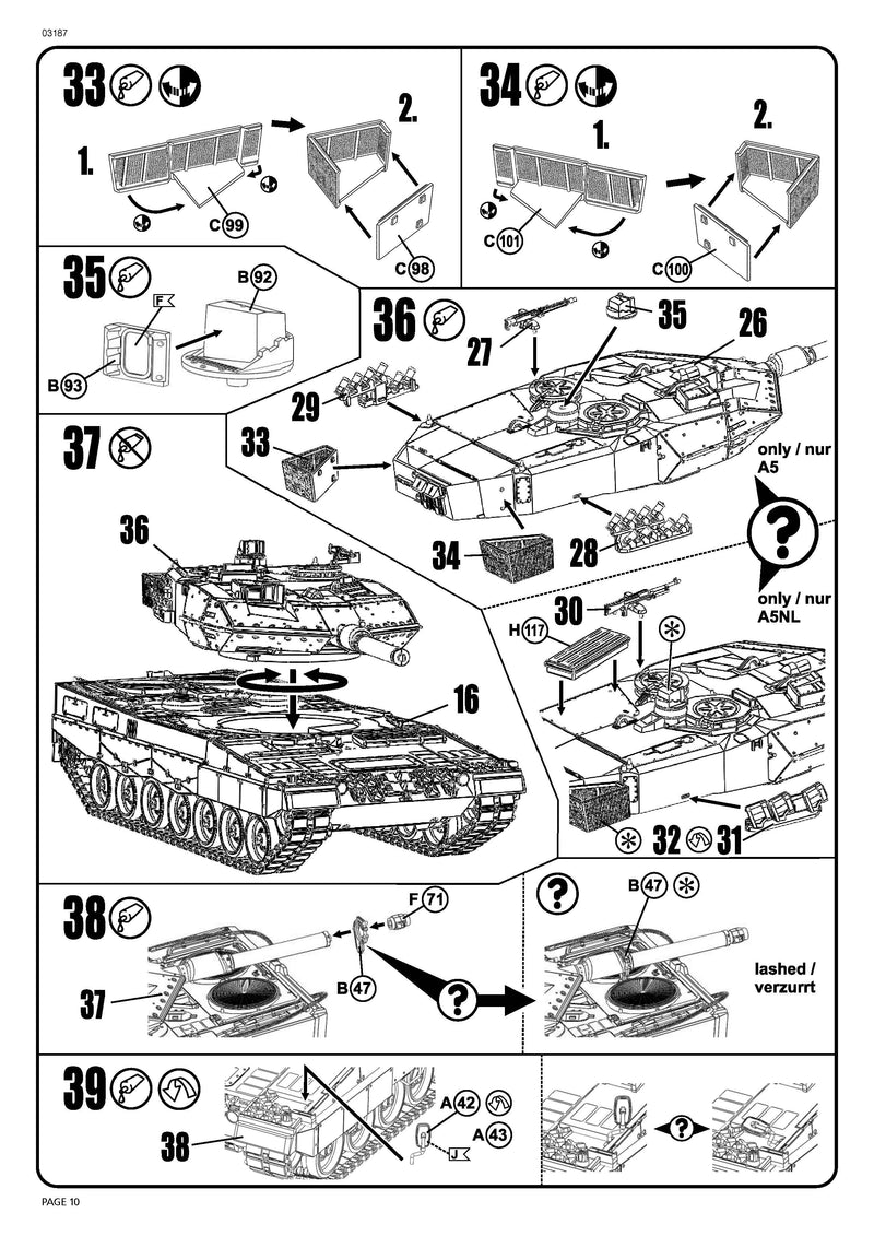 Leopard 2A5/A5NL Main Battle Tank 1/72 Scale Model Kit By Revell Germany Instructions Page 10