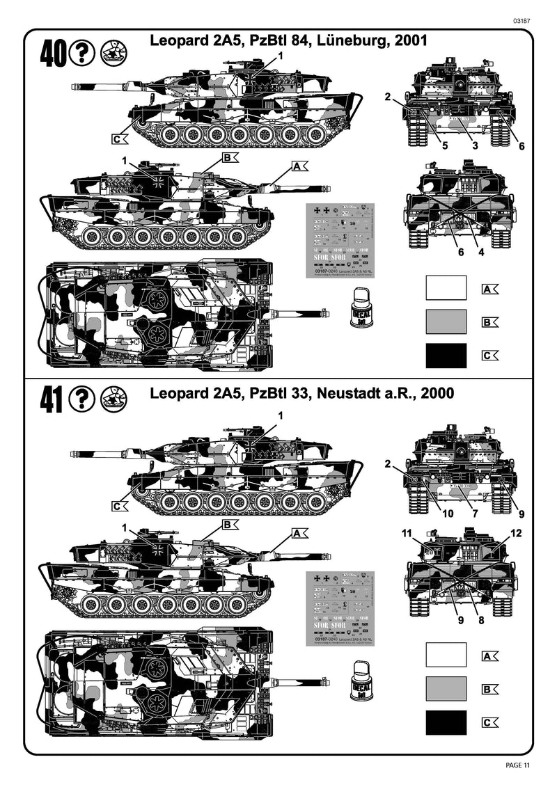 Leopard 2A5/A5NL Main Battle Tank 1/72 Scale Model Kit By Revell Germany Instructions Page 11