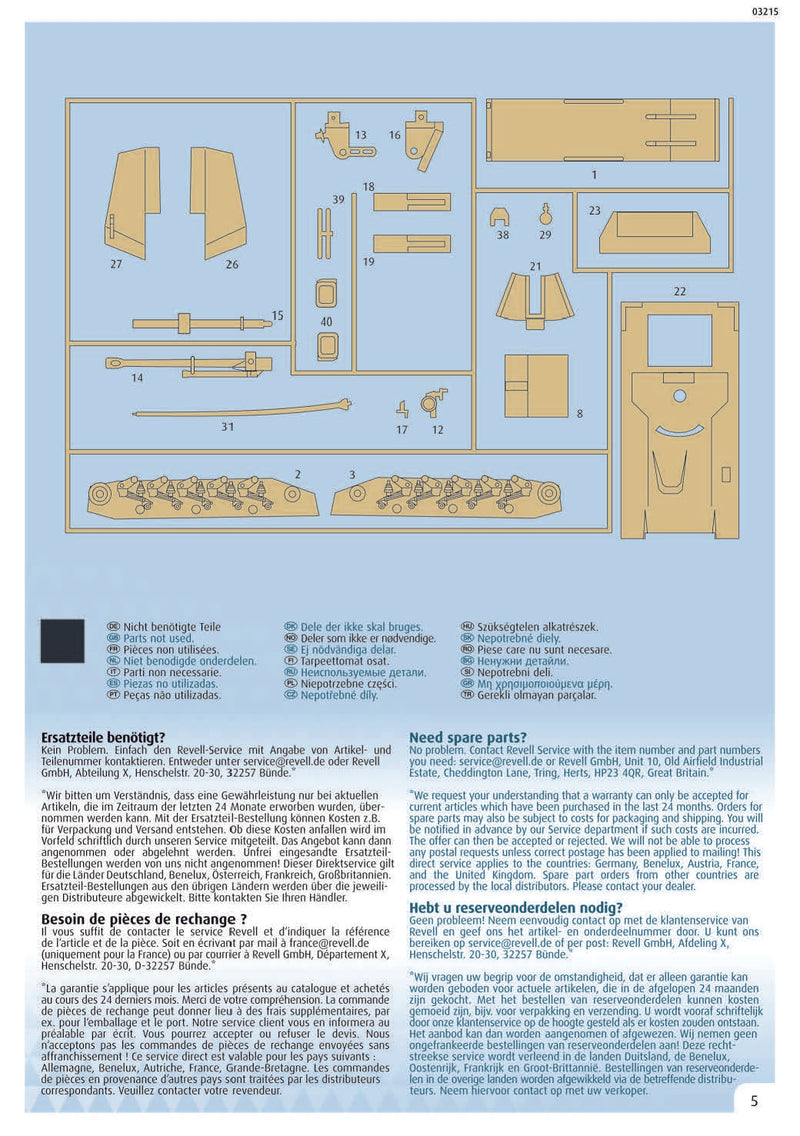 Sd.Kfz. 124 Wespe, 1/76 Scale Model Kit Instructions Page 5
