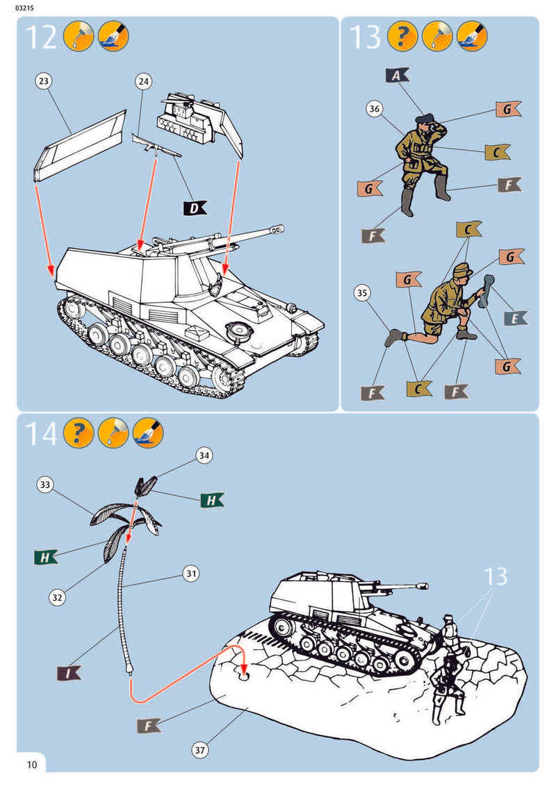 Sd.Kfz. 124 Wespe, 1/76 Scale Model Kit Instructions Page 10