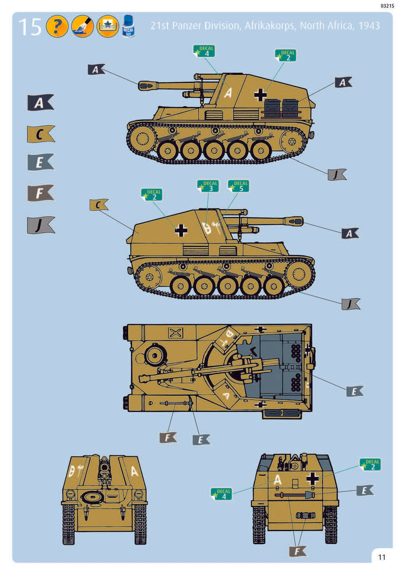 Sd.Kfz. 124 Wespe, 1/76 Scale Model Kit Instructions Page 11