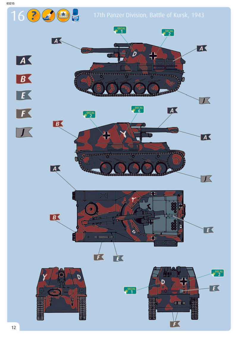 Sd.Kfz. 124 Wespe, 1/76 Scale Model Kit Instructions Page 12