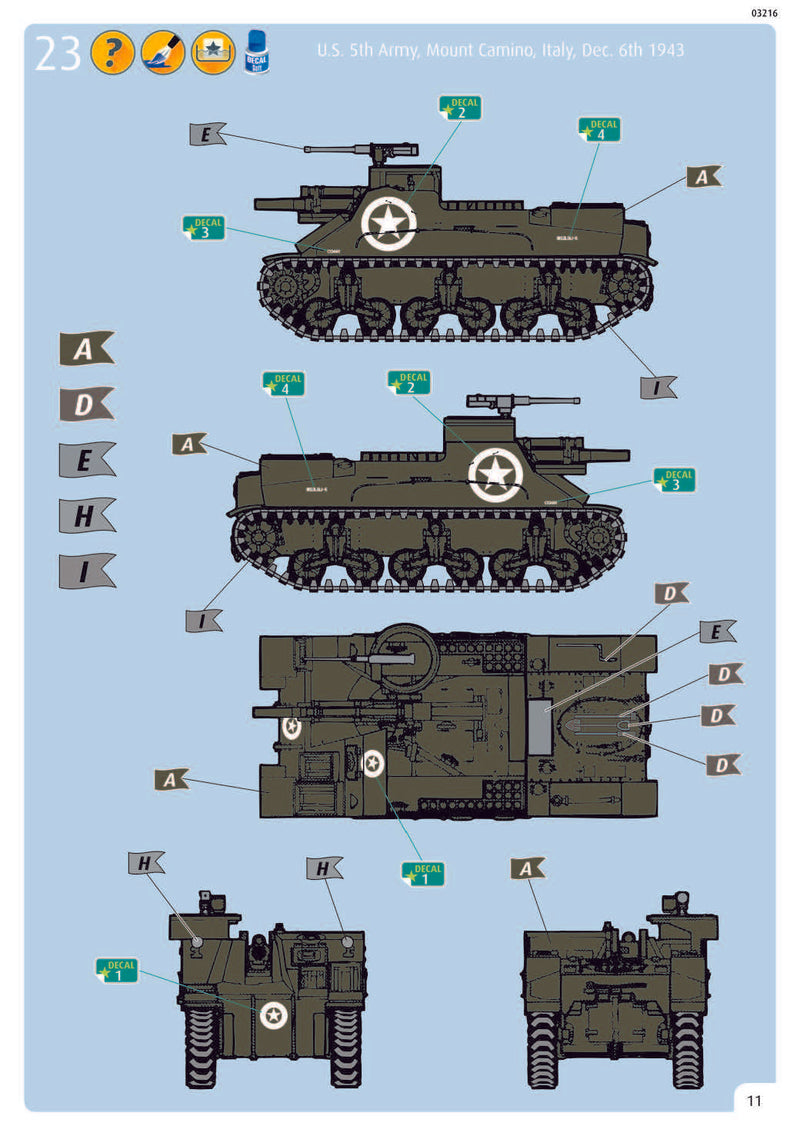 M7 HMC Priest 1/76 Scale Model Kit Instructions Page 11