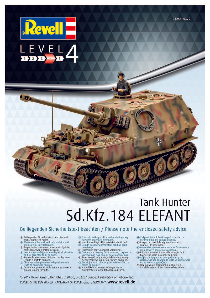 Sd.Kfz 184 Elefant Tank Hunter 1/35 Scale Model Kit By Revell Germany Instructions Page 1