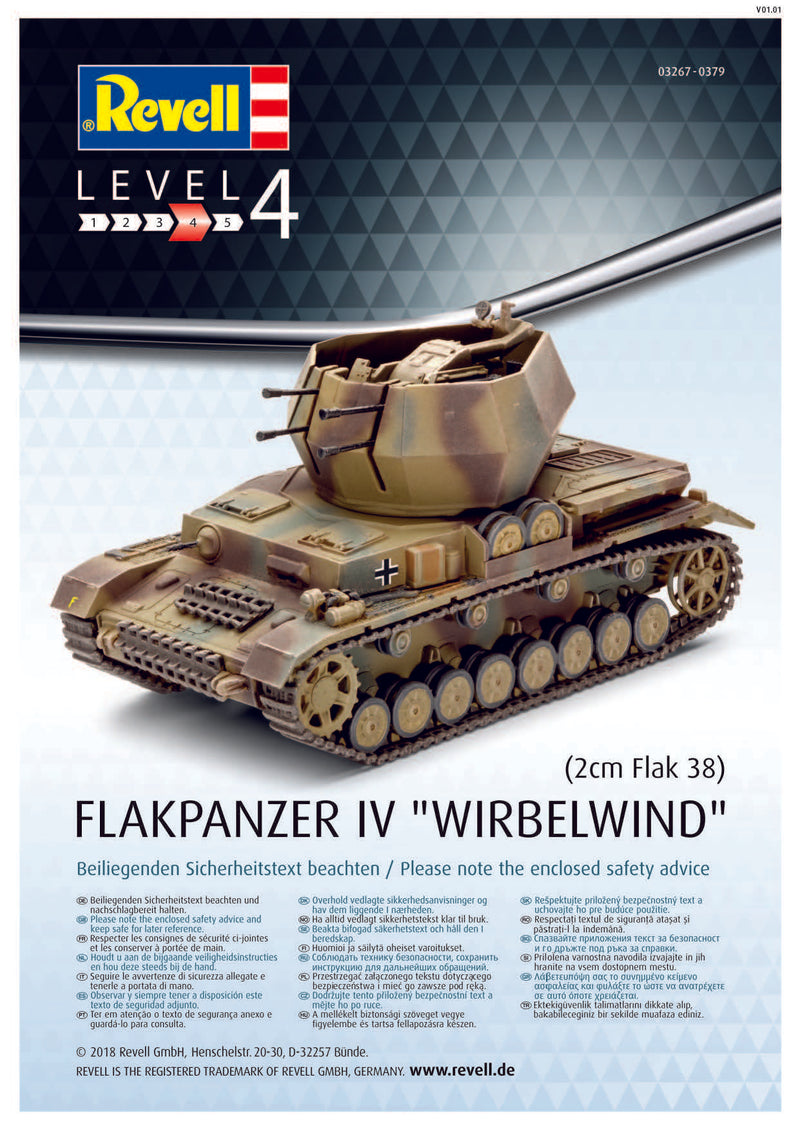 "Flakpanzer IV ""Wirbelwind"" 1/72 Scale Model Kit By Revell Germany Instructions Page 1"