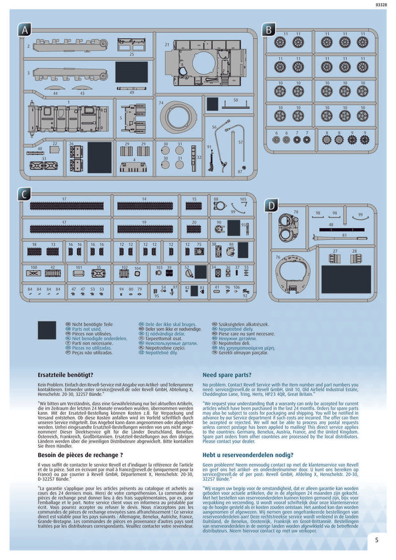 T-55A/AM with KMT-6/EMT-5 1/72 Scale Model Kit Instructions Page 5