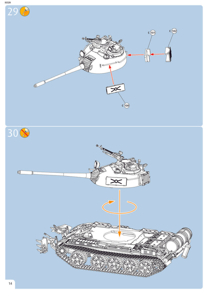 T-55A/AM with KMT-6/EMT-5 1/72 Scale Model Kit Instructions Page 14