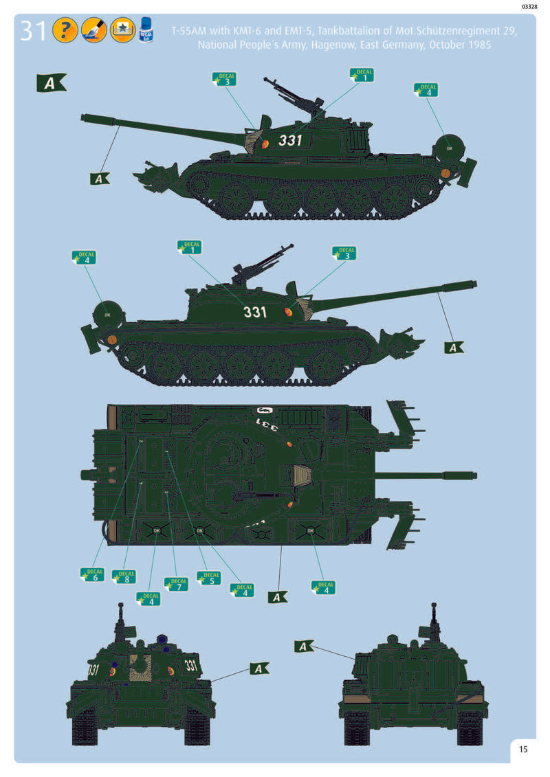T-55A/AM with KMT-6/EMT-5 1/72 Scale Model Kit Instructions Page 15