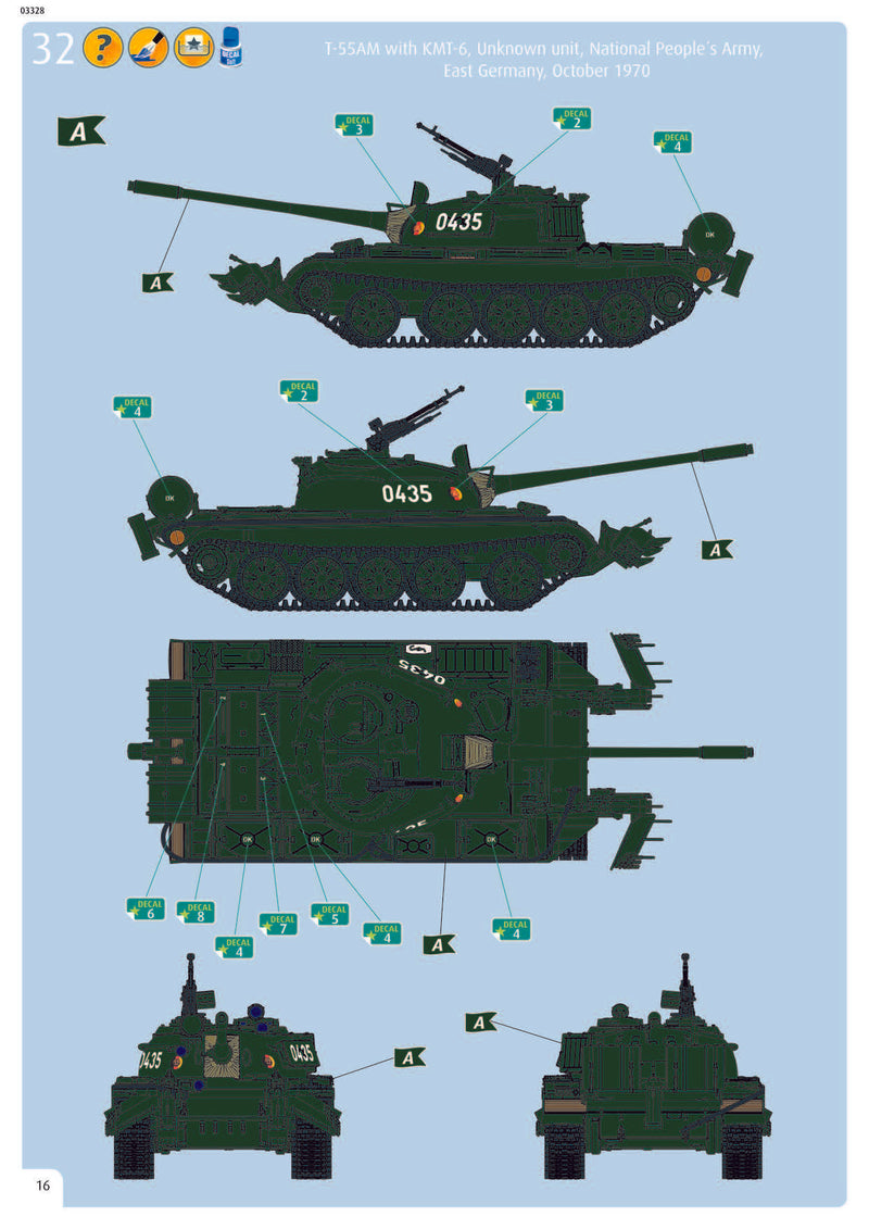 T-55A/AM with KMT-6/EMT-5 1/72 Scale Model Kit Instructions Page 16