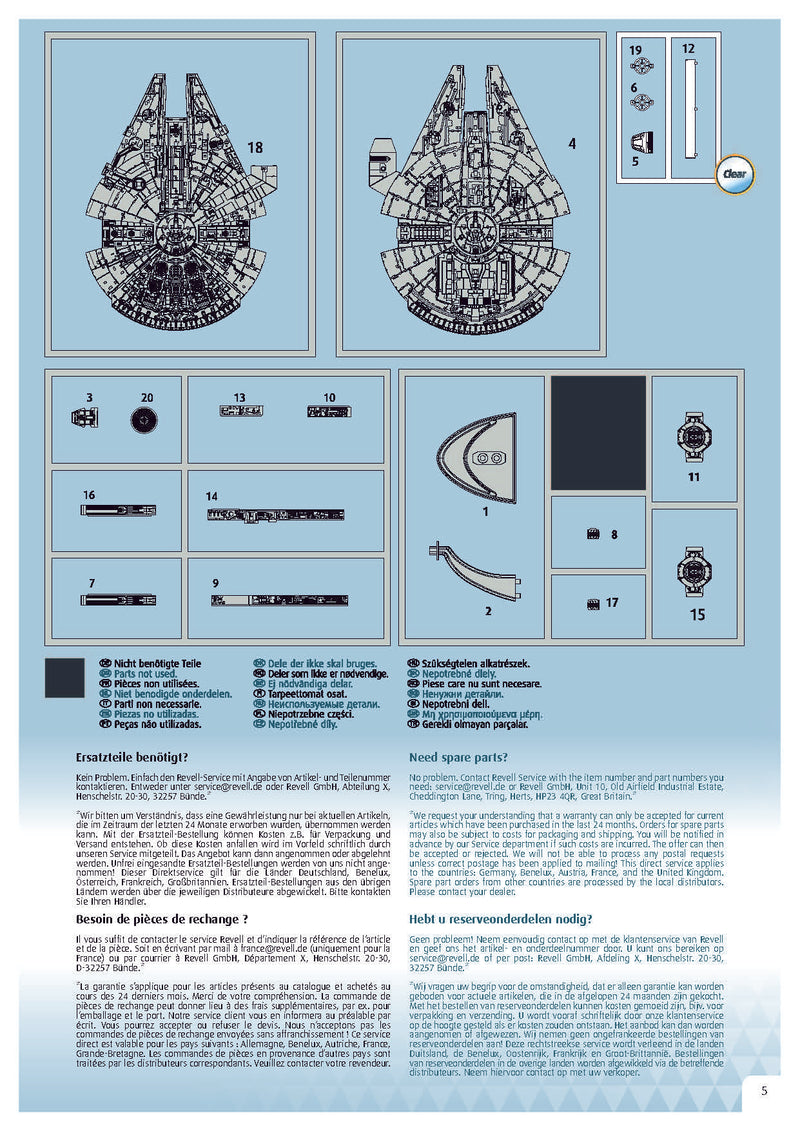 Star Wars Millennium Falcon 1/241 Scale Model Kit By Revell Germany Instructions page 5