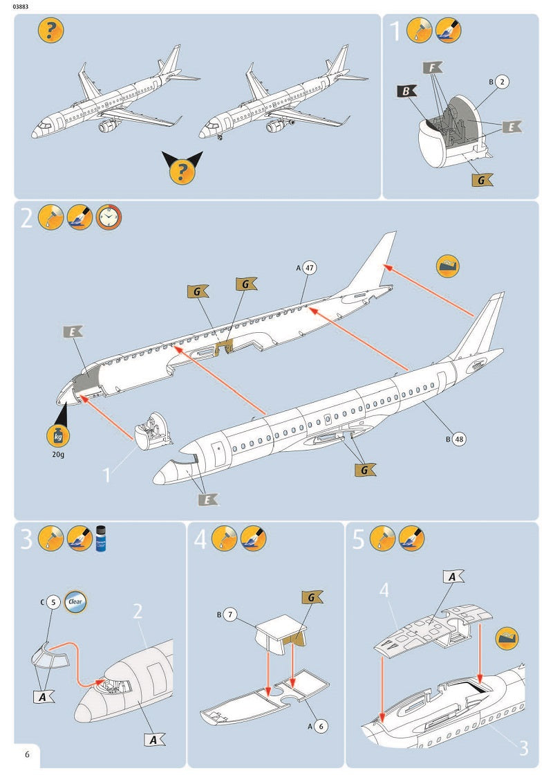 Embraer E190 Lufthansa 1/144  Scale Model Kit Instructions Page 6
