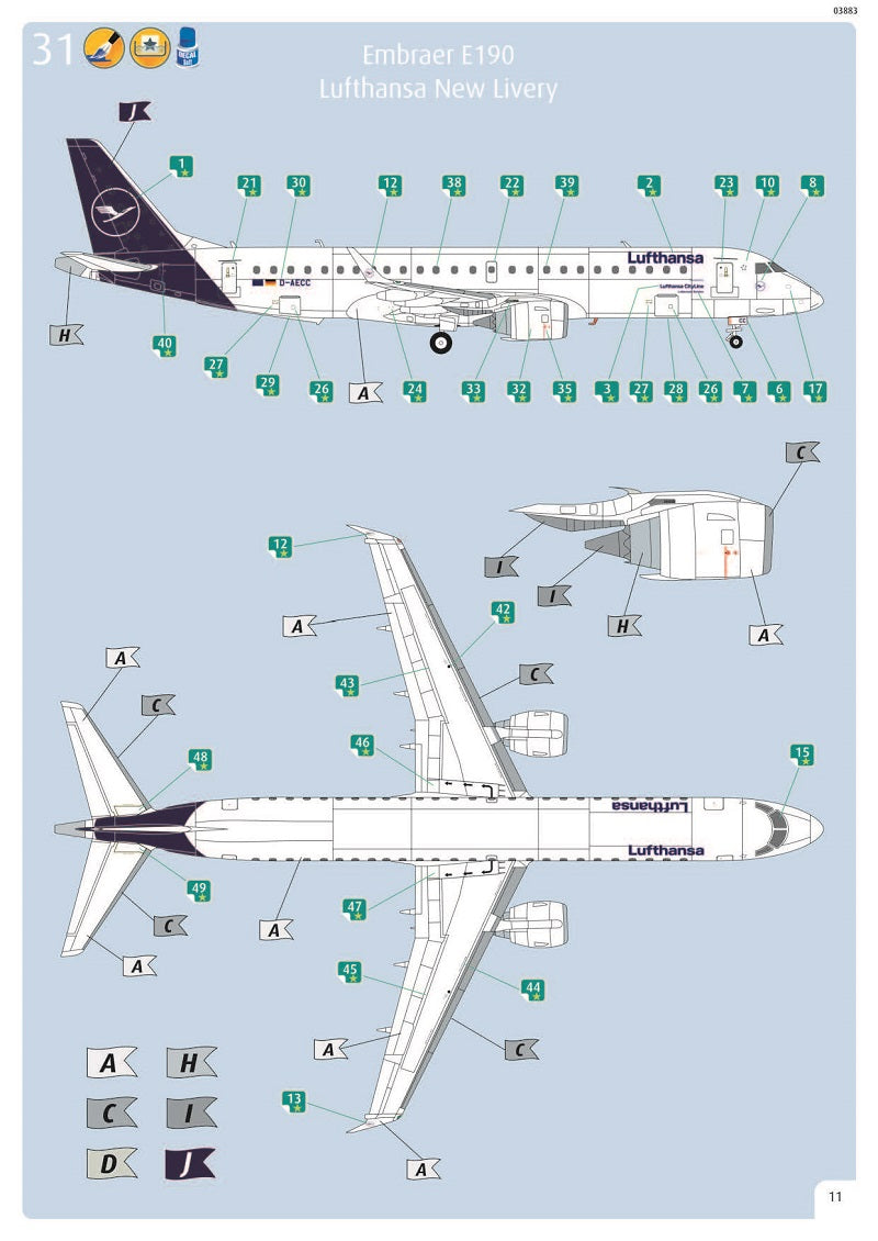 Embraer E190 Lufthansa 1/144  Scale Model Kit Instructions Page 11