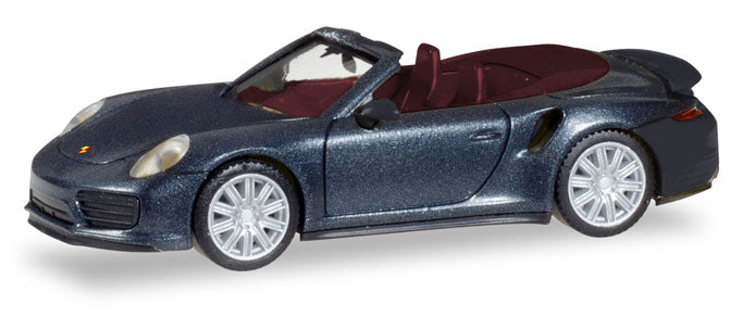 Porsche 911 Turbo Cabriolet Deep Black Metallic 1:87 (HO) Scale Model By Herpa