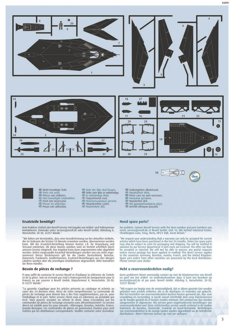 Lockheed Martin F-117A Nighthawk 1/72 Scale Model Kit Instructions Page 5