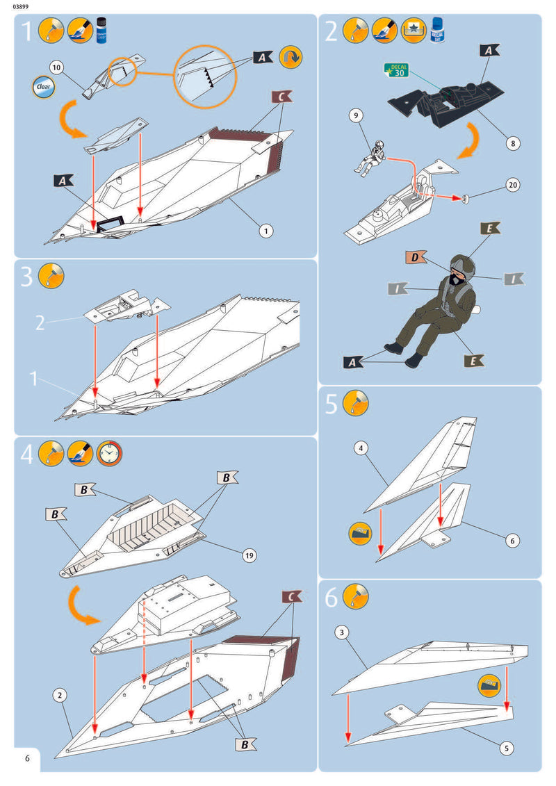 Lockheed Martin F-117A Nighthawk 1/72 Scale Model Kit Instructions Page 6