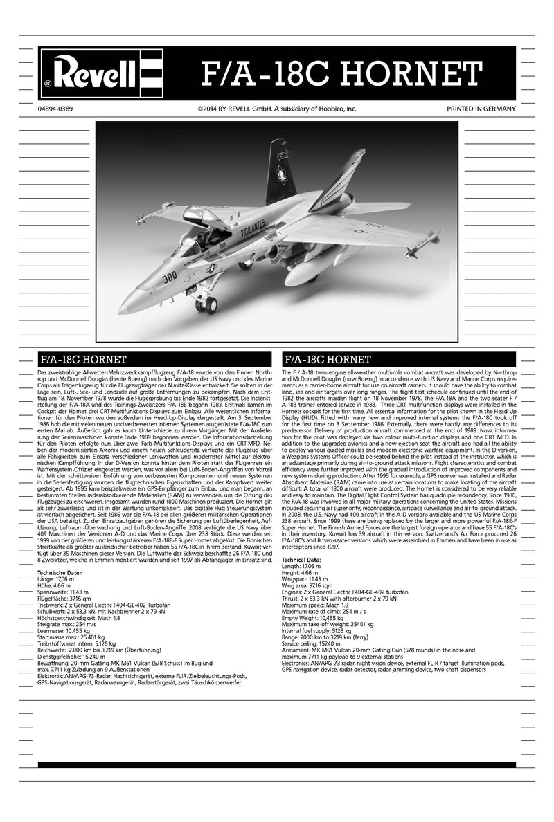 Boeing F-18C Hornet 1:72 Scale Model Kit By Revell Germany Instructions Page 1