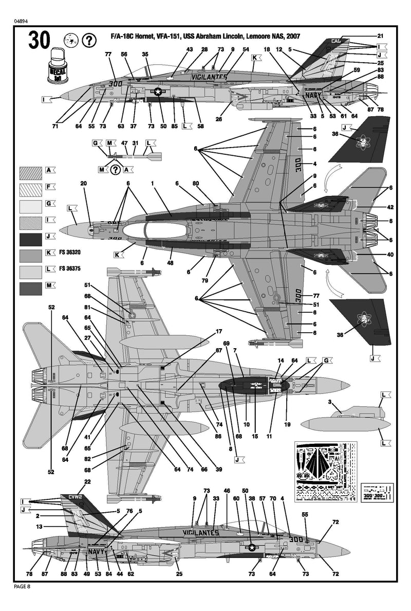 Boeing F-18C Hornet 1:72 Scale Model Kit By Revell Germany Instructions Page 8