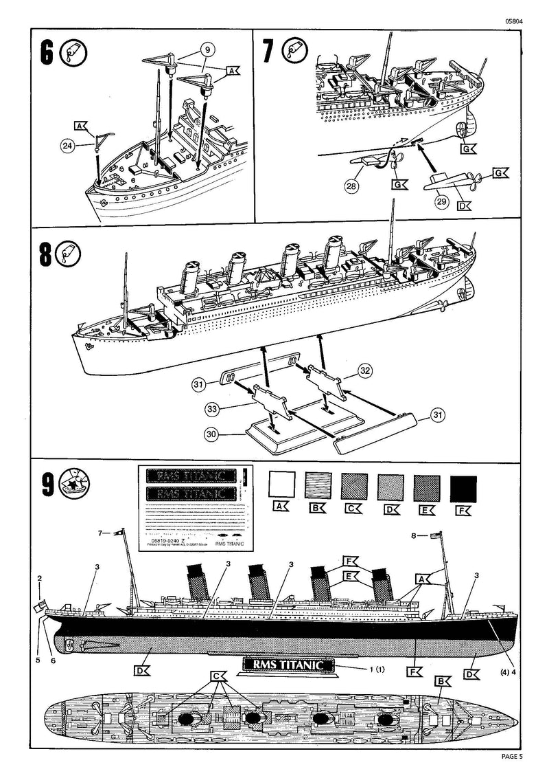 RMS Titanic 1/1200 Scale Model Kit Instructions Page 5