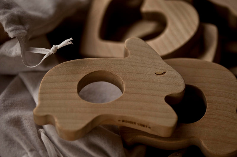 Penguin Shaped Raw Wood Teether