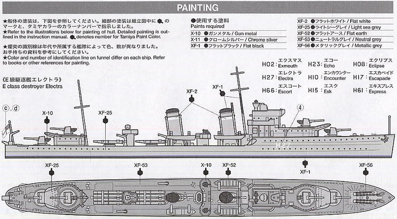 E Class Destroyer 1:700 Scale Model Kit Paint Guide