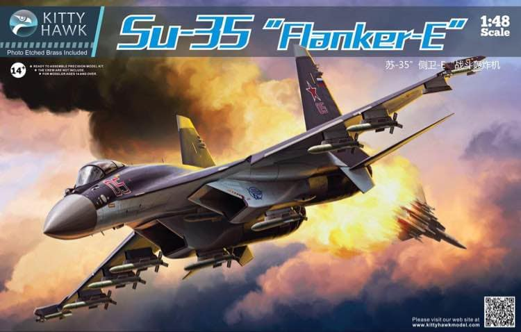 Sukhoi Su-35 Flanker E, 1:48 Scale Model Kit By Kitty Hawk Box Cover