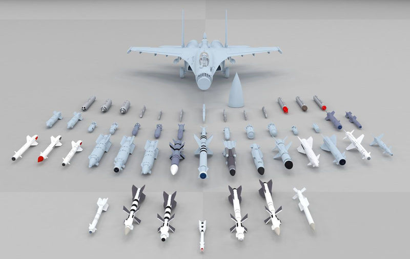 Sukhoi Su-35 Flanker E, 1:48 Scale Model Kit By Kitty Hawk Weapons Options