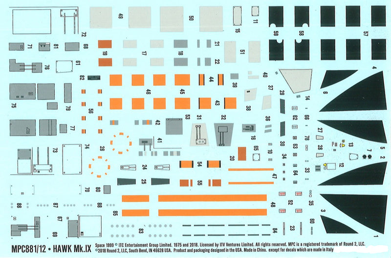 Space 1999 Hawk Mark IX 1/72 Scale Model Kit Decals