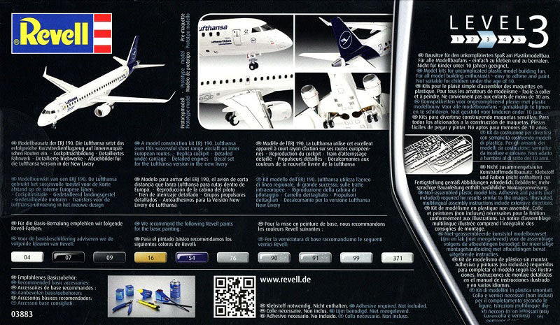 Embraer E190 Lufthansa 1/144  Scale Model Kit Back Of Box