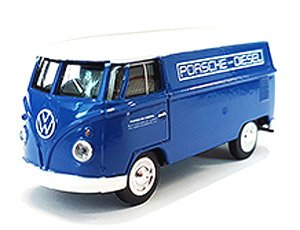 Volkswagen Type 2 T1 Panel Bus Porsche Diesel (Blue w/ White Top) 1:64 Scale