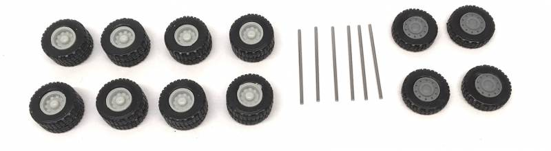 All Terrain Wheel Sets, 2 Front, 4 Rear 1:87 (HO) Scale Model By Promotex