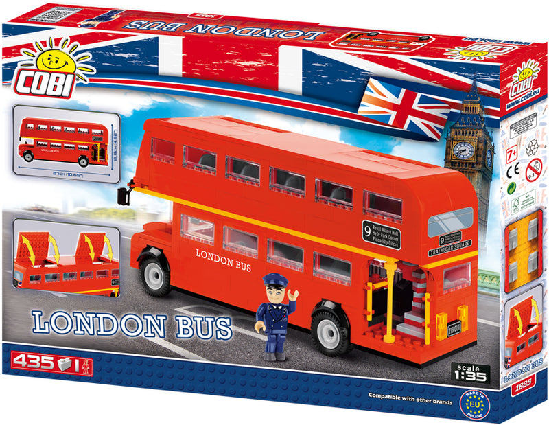 London Bus Action Town 435 Piece Block Kit By Cobi Back Of Box