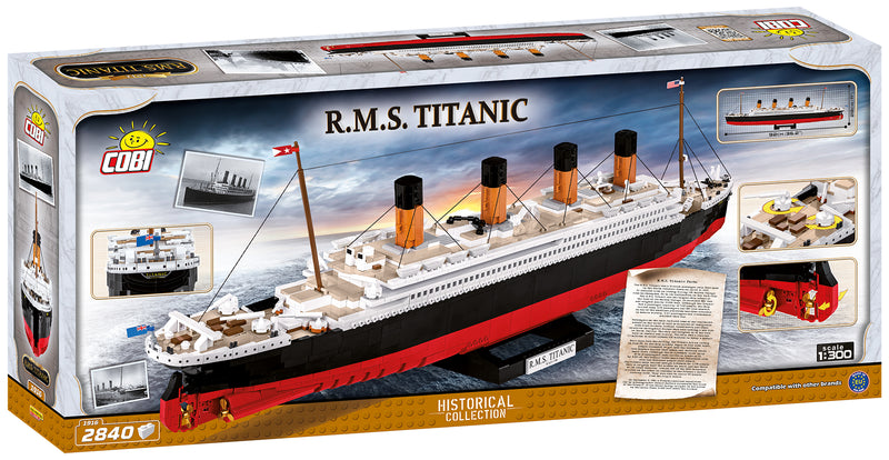 RMS Titanic 1:300 Scale, 2810 Piece Block Kit By Cobi Back Of Box