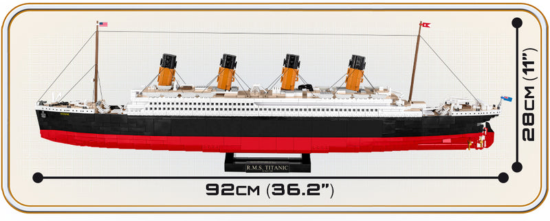 RMS Titanic 1:300 Scale, 2810 Piece Block Kit By Cobi Port Side Dimensions