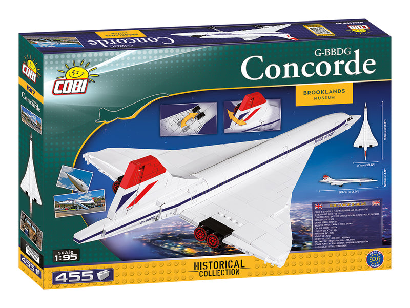 Concorde 1:95 Scale, 455 Piece Block Kit By Cobi Back Of Box