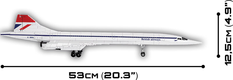 Concorde 1:95 Scale, 455 Piece Block Kit By Cobi Side View Dimensions
