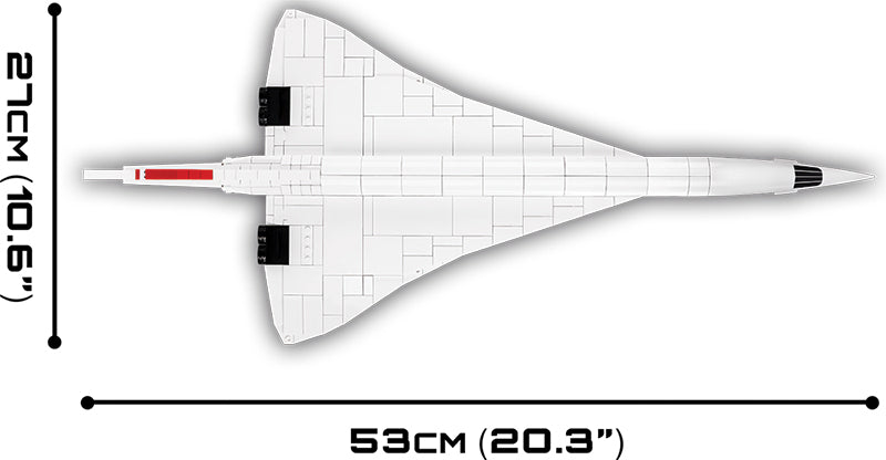Concorde 1:95 Scale, 455 Piece Block Kit By Cobi Top View Dimensions