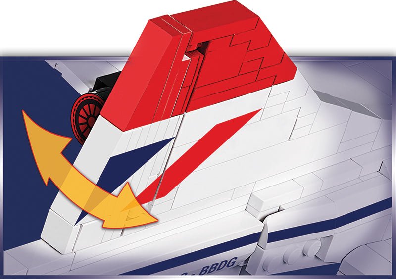 Concorde 1:95 Scale, 455 Piece Block Kit By Cobi Rudder Detail
