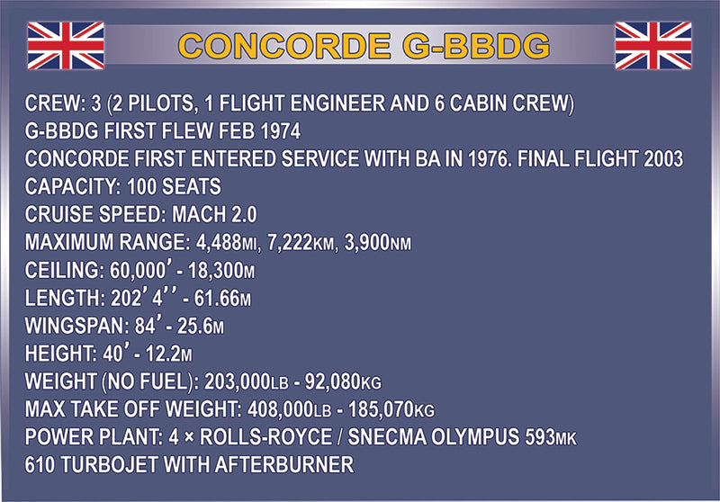 Concorde 1:95 Scale, 455 Piece Block Kit By Cobi
