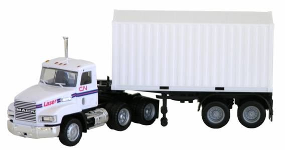 Mack 603 Tractor (White) w/ 20' Container Trailer 1:87 (HO) Scale Model By Promotex