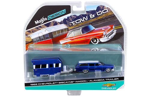 1962 Chevrolet Biscayne Wagon w/ Alameda Trailer (Blue) 1:64 Scale Diecast Model By Maisto Packaging