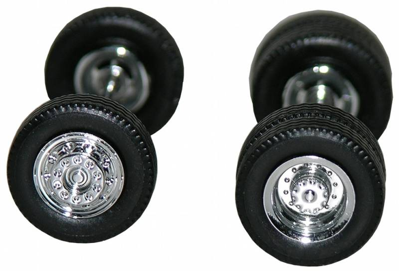 Chrome Wheels, Planetary Hubs 4 Front, 4 Rear 1:87 (HO) Scale Model By Promotex